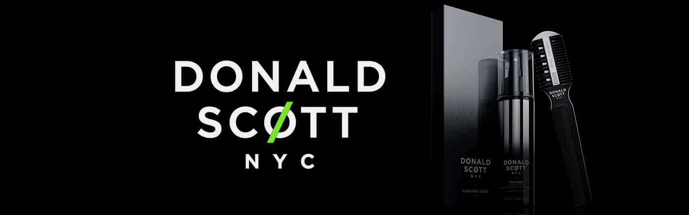 Donald Scott NYC razors brand page header at Ross Charles Hairdressing York